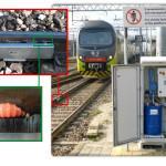 System smarowania obrzeży kół pociągów